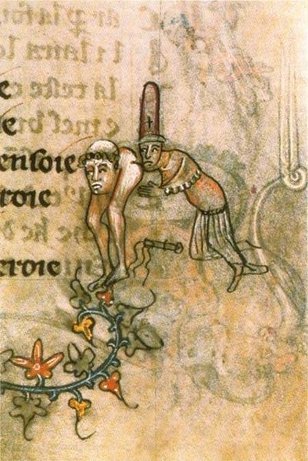 """El manuscrito ilustración (c. 1350) alude a la acusación de """"besos obscenos"""" en la base de la columna vertebral."""