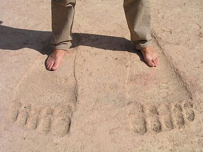 The giant pair of footprints at the Ain Dara Temple