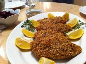 Almond Macadamia Nut crusted baked Chicken