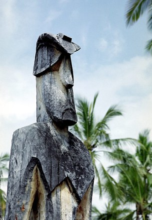 Фрагмент оформления убежища Pu'uhonua o Honaunau.
