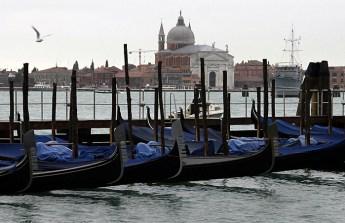Гондолы на фоне острова San Giorgio Maggiore.