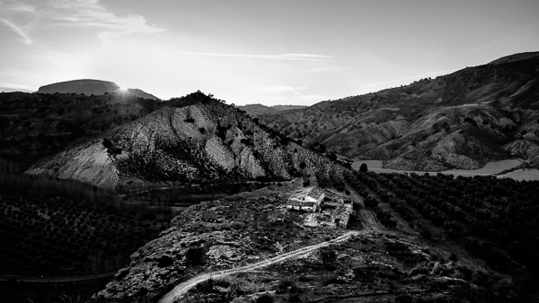 Black & white landscape photo taken in Andalusia, Spain.