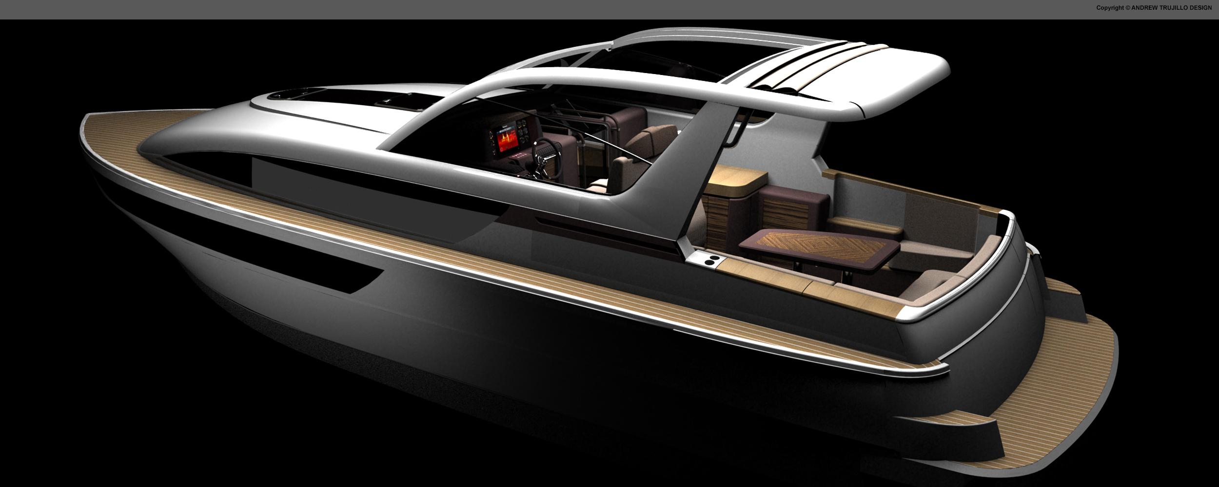 Cockpit And Aft Design For 35u2032 River Cruiser.