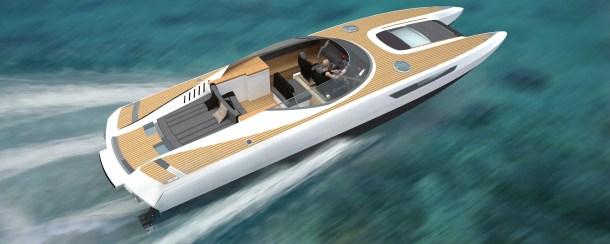 "40 Foot  Supermarine ""Lightning"" fast catamaran."