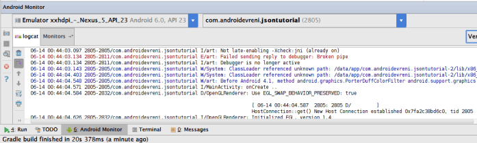 Android te JSON Veriyle Çalışmak - Timber LogCat - 1