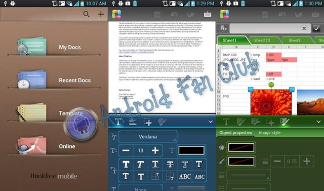 ThinkFree Mobile Pro for Android smartphones & tablets
