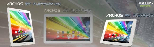 Die Modelle der Archos Platinum Serie unterscheiden sich lediglich in der Display-Größe.