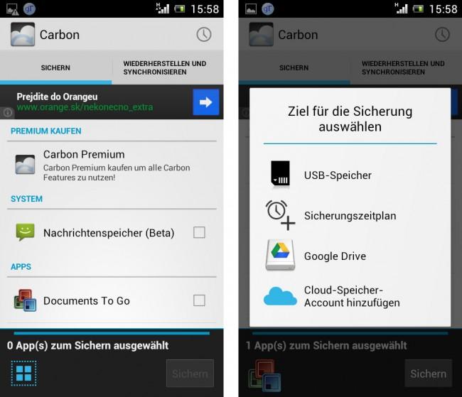 Android bringt keine Datensicherungsmöglichkeit mit – verlierst du dein Handy, sind nur die am Server von Google gespeicherten Dateien wiederherstellbar.
