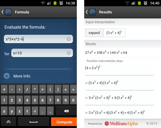 Auch Gleichungen und ganze Gleichungssysteme, sowie Ergebnisse für bestimmte Variablen von Gleichungen lassen sich simpel lösen oder eine Wertetabelle anzeigen.