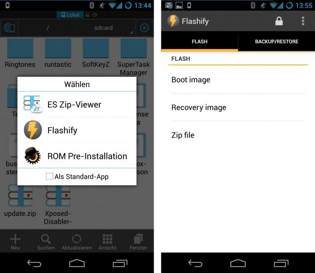 Die Benutzeroberfläche von Flashify (for root users) ist ebenso minimalistisch wie funktionell und gliedert sich in lediglich zwei Reiter.