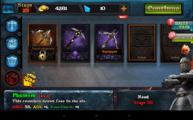 Mit den Goldmünzen, die du auf dem Schlachtfeld verdienst, kannst du nach und nach die Wirksamkeit deiner Waffen erhöhen.