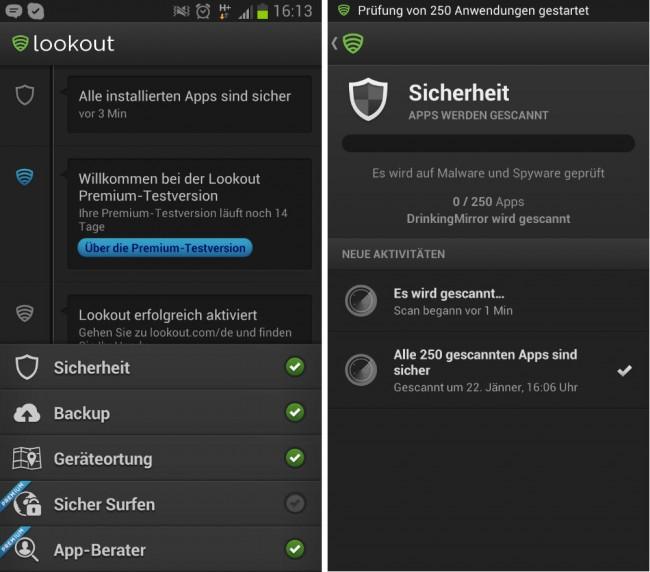 Lookout bietet eine 14-tägige kostenlose Testversion mit allen Features.