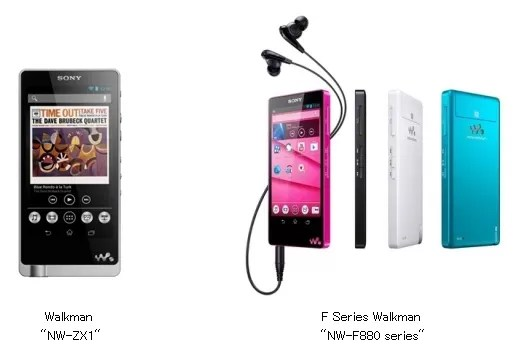 Der Walkman ZX1 und die F880-Reihe: Beide haben Android 4.1 an Bord. (Quelle: mobilegeeks.de)