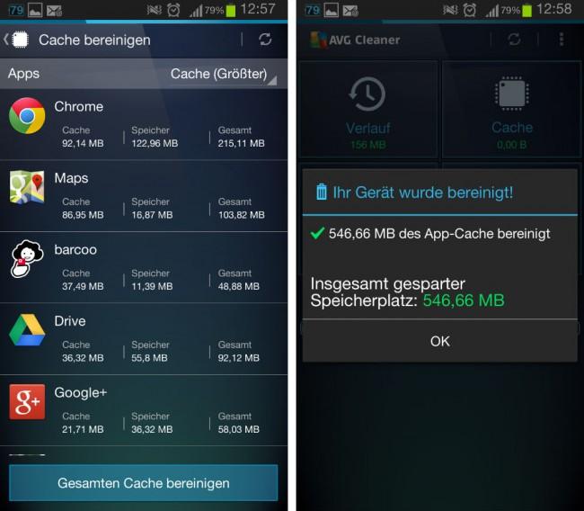 Auf Wunsch lassen sich die Programme nach der Cachegröße sortieren. Mit nur wenigen Klicks kannst du den gesamten vom Cache verbrauchten Speicher auf deinem Smartphone freigeben.
