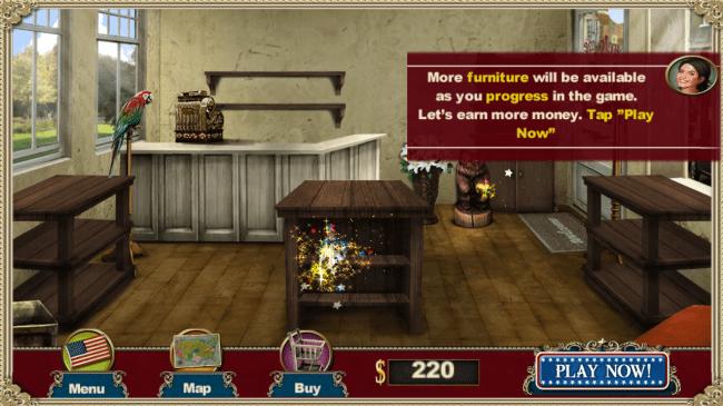 Mit dem Geld das du durch das Verkaufen der antiken Gegenstände verdienst kannst du deinen Shop mit Möbeln einrichten.