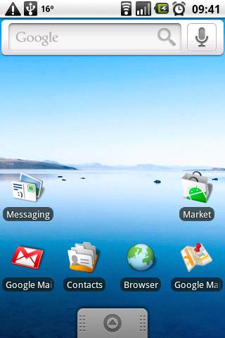 "Der Homescreen in Android 1.6 ""Donut"" (Bild: user-agent-string.info)"
