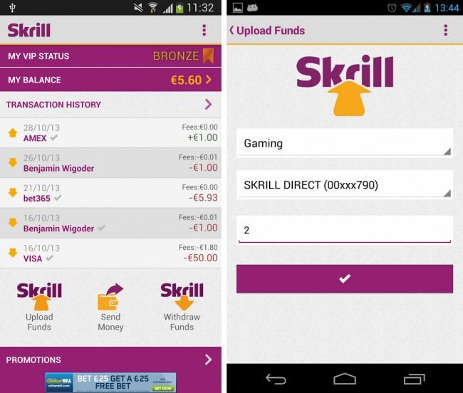 Skrill ist eine nützliche App zum versenden von Geld.