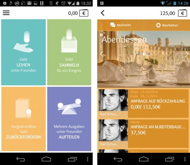 In der App kann man ganz einfach Geld leihen, sammeln, vorgestrecktes zurückfordern oder unter Freunden aufteilen.