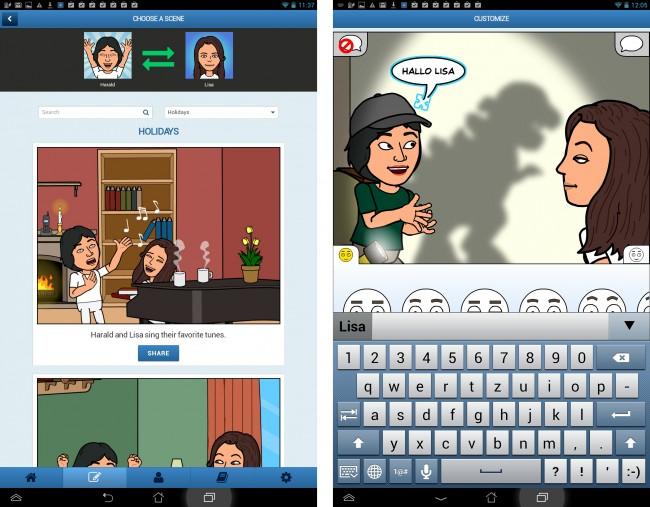 Neben Emotionen können auch Sprechblasen eingefügt werden, wo du selbst den Text eingeben kannst.