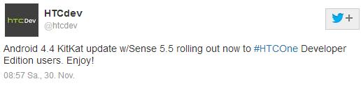 Via Twitter hat HTC verkündet, dass die Developer Edition des HTC One bereits mit Android 4.4 und Sense 5.5 versorgt wird.