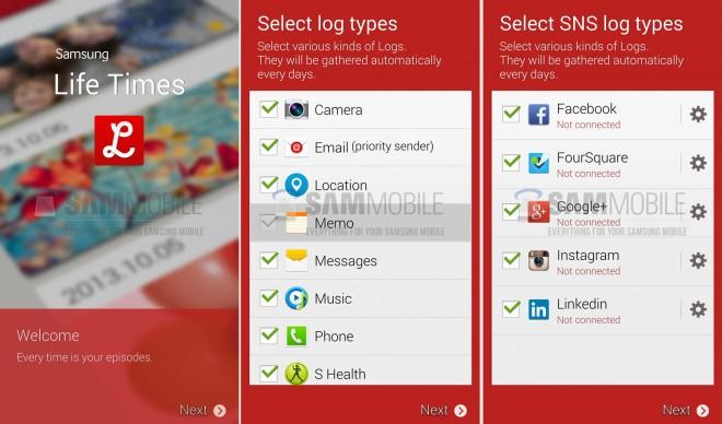 Samsung Life Times: Das Lebens-Tagebuch soll eine Vielzahl von Anwendungen unterstützen. (Bild: SamMobile)