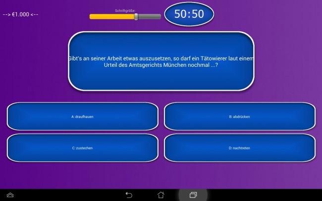 Wie auch in der Fernsehsendung gibt es bei dieser App vier Antwortmöglichkeiten.
