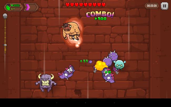 Tränke, die von Zeit zu Zeit von Monstern fallen gelassen werden, verleihen deinem Ritter Spezialfähigkeiten. Im Maximal-Level verwandelt sich dieser selbst in ein muskelbepacktes Monster.