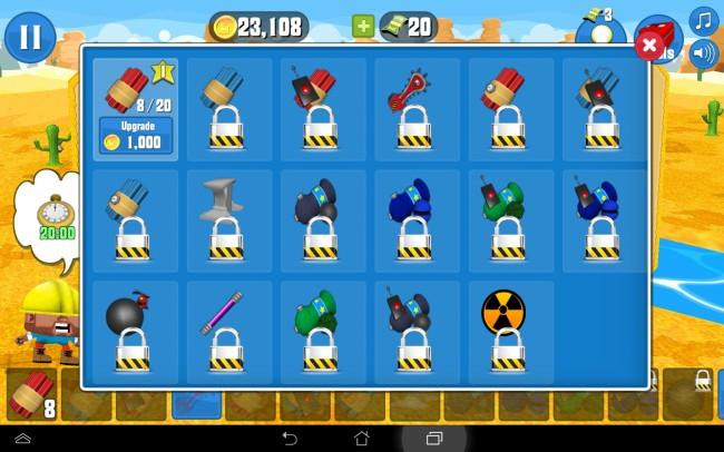 Du kannst dir jede Menge explosiver Gemeinheiten kaufen. 17 Sprengwerkzeuge lassen sich der Reihe nach freischalten.