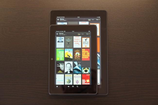 Das Kindle Fire HDX mit 7 Zoll ist insgesamt etwa so groß wie der Bildschirm des HDX 8.9.