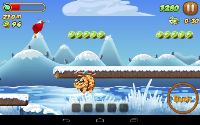 Im Plattformspiel Kiwi Dash unterstützt du einen kleinen Vogel bei der Jagd nach diebischen Katzen.