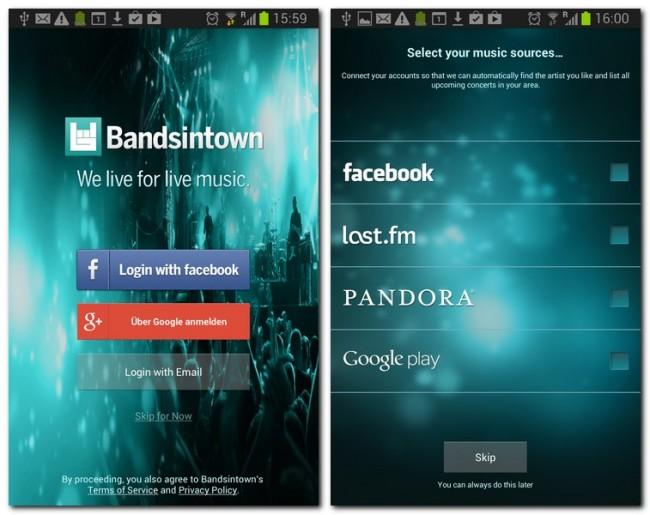 Melde dich via Facebook, Google+ oder Email an und genieße die Vielfalt von Bandsintown Concerts.