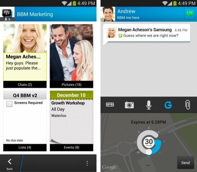 BlackBerry hat die Gruppenanzahl erhöht und auch eine Funktion zum Teilen des Standortes integriert. (Foto: BlackBerry)