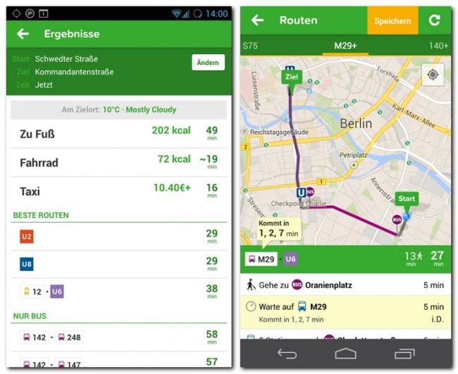 Die Routeninformationen enthalten auch Angaben zu Kalorienverbrauch und Kosten.