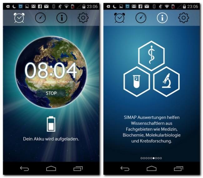 Nachdem der Akku deines Smartphones aufgeladen ist, kannst du seine Rechenpower dem SIMAP Projekt zur Verfügung stellen.