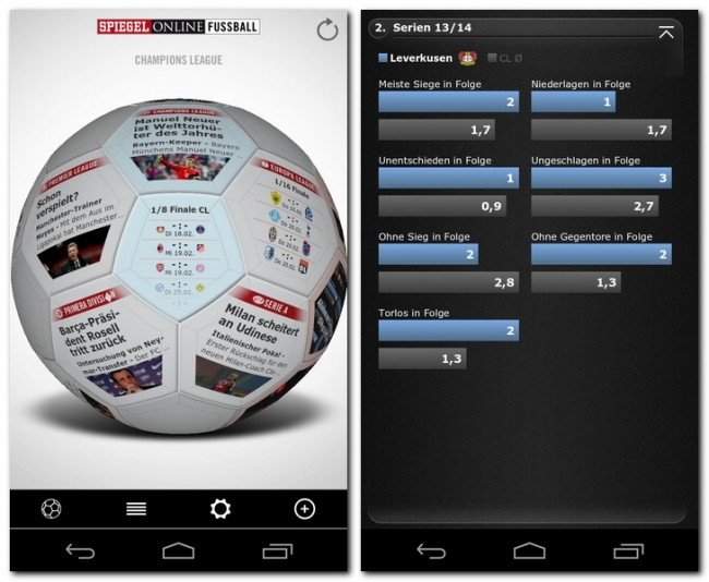 """Die App """"Spiegel Online Fußball"""" versorgt dich sowohl mit aktuellen Nachrichten und Spiel-Ergebnissen als auch mit detaillierten Statistikinformationen über Spieler und Mannschaften."""