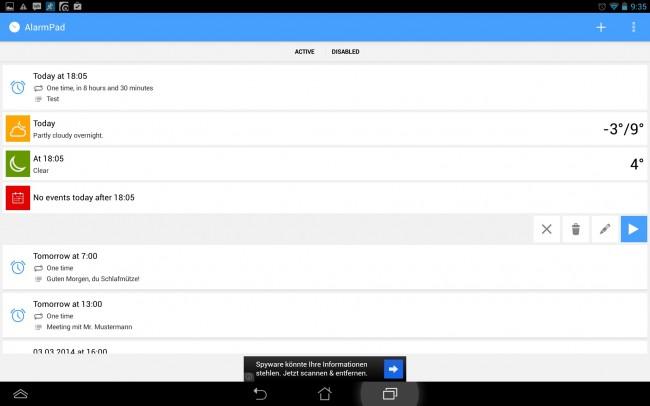 AlarmPad ist mehr als nur eine Wecker-App. Sie vereint mehrere Anwendungen zugleich, wie z.B. einen Terminkalender- oder eine Wetterprognose-App.