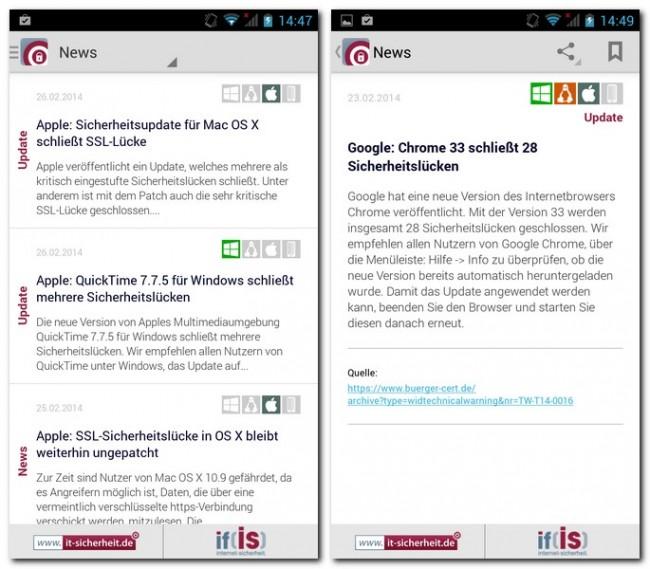 Die News-Ecke bietet eine schöne Übersicht über die neuesten Meldungen rund um die Sicherheit im Internet.