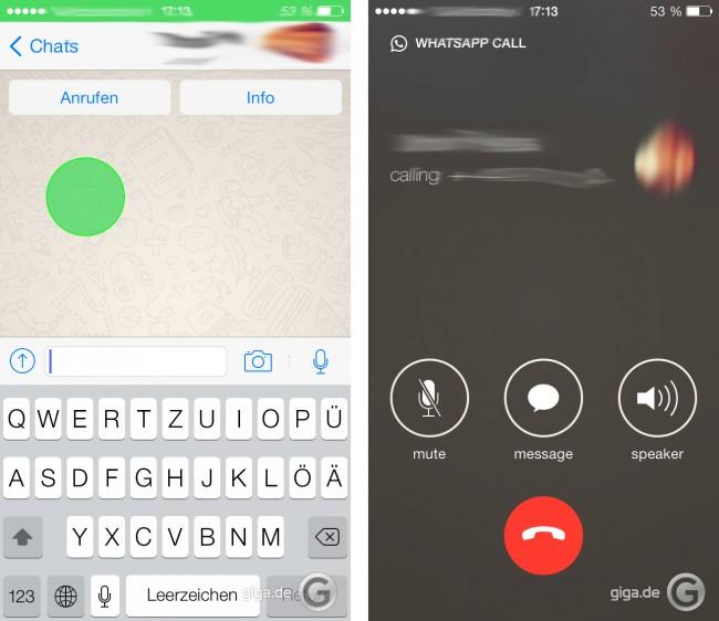 Mit WhatsApp kann man künftig auch Telefonieren. (Foto: Giga)