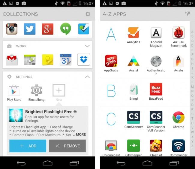 In den Collections werden die Apps entsprechend nach ihren Funktionen gruppiert.
