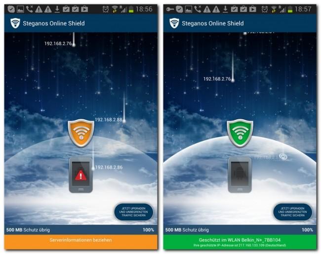 Ein von Steganos bereitgestellter Server dient als neue Schnittstelle zum Internet. Die Kommunikation zwischen deinem Telefon und diesem Zentralrechner erfolgt voll verschlüsselt, weshalb du mit Online Shield auch diverse Firewalls und Webfilter umgehen kannst.