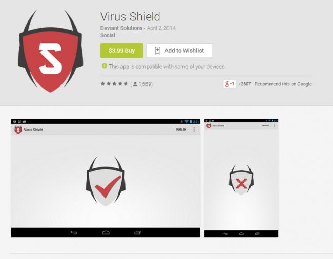 Virus Shield führte lange Zeit die Liste der Top kostenpflichtigen Apps an obwohl die App keine Funktion hatte.