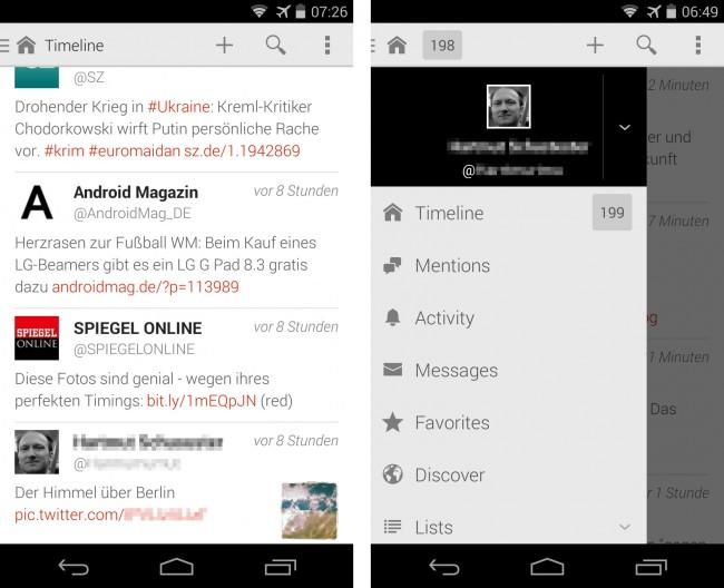 Die Twitter-App Fenix richtet sich nach den aktuellen Empfehlungen für Android-Bedienungsoberflächen. – In der Zeitleiste verschwendet das Programm keinen Platz, sondern zeigt die Schaltflächen erst dann an, wenn du einen Tweet länger antippst.