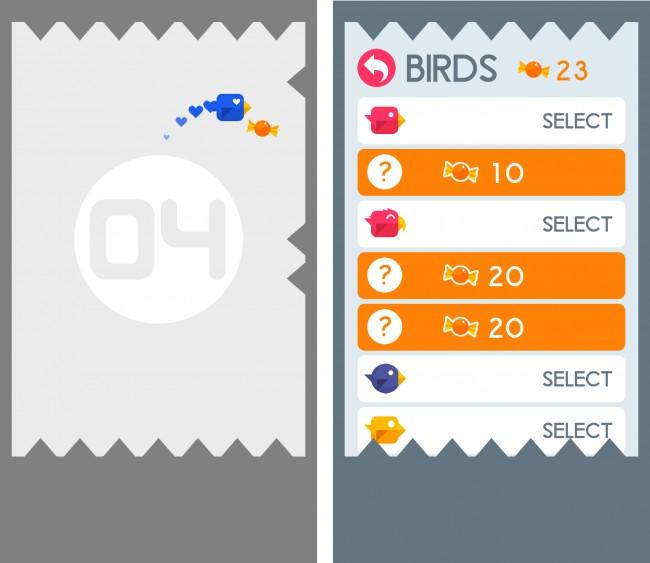 Mit den eingesammelten Bonbons kannst du neue Vögel freischalten.