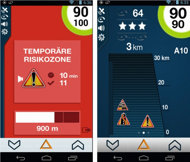 Effektive Warnungen vor Verkehrsstörungen aller Art unter Berücksichtigung der eigenen Geschwindigkeit.