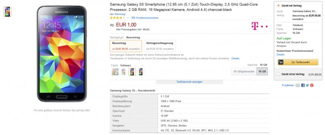 Über Amazon kannst du jetzt dein Smartphone direkt mit einem Telekom-Tarif ordern.
