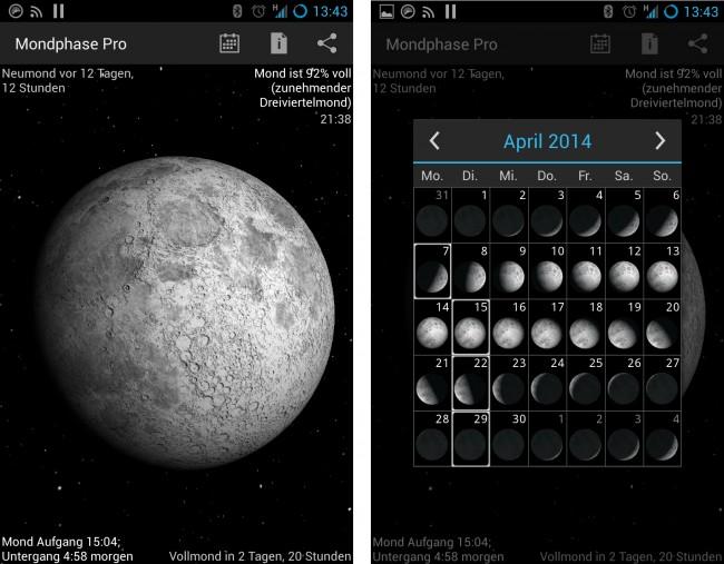 Die Hauptansicht zeigt die aktuelle Mondphase, die Uhrzeit des Mondaufgangs und und -untergangs, die Zeit bis zum nächsten Vollmond und einiges mehr.