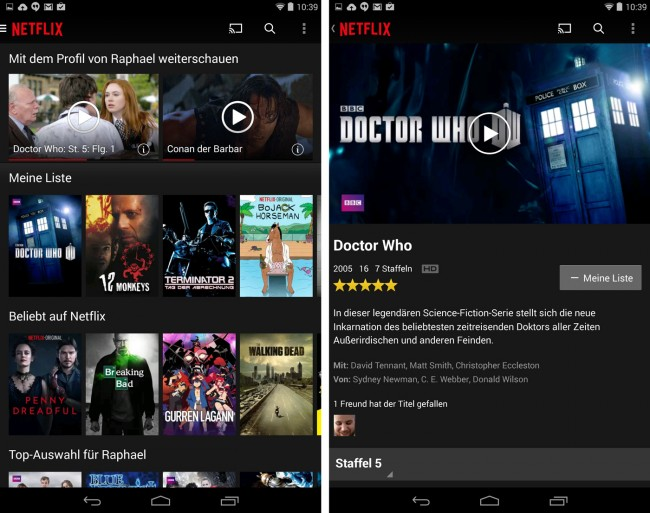 Die Oberfläche (hier zu sehen auf einem Nexus 7 (2013) wirkt aufgeräumt und Inhalte lassen sich schnell und einfach finden.