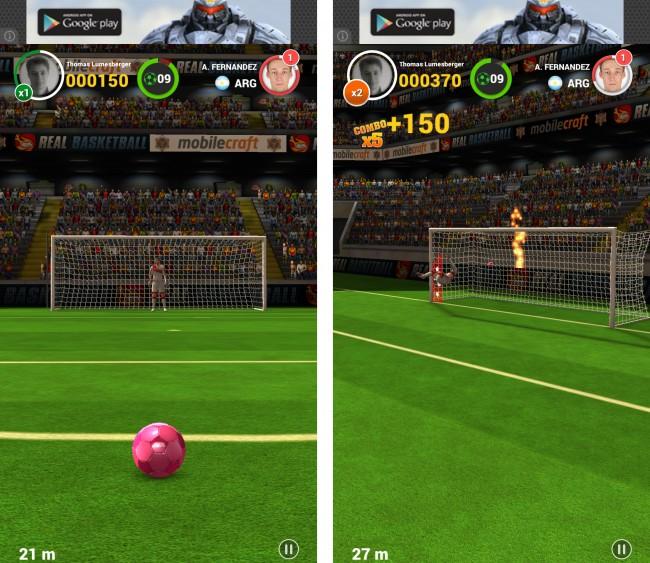 Du kannst den Ball auch noch in der Luft durch Wischgesten steuern.