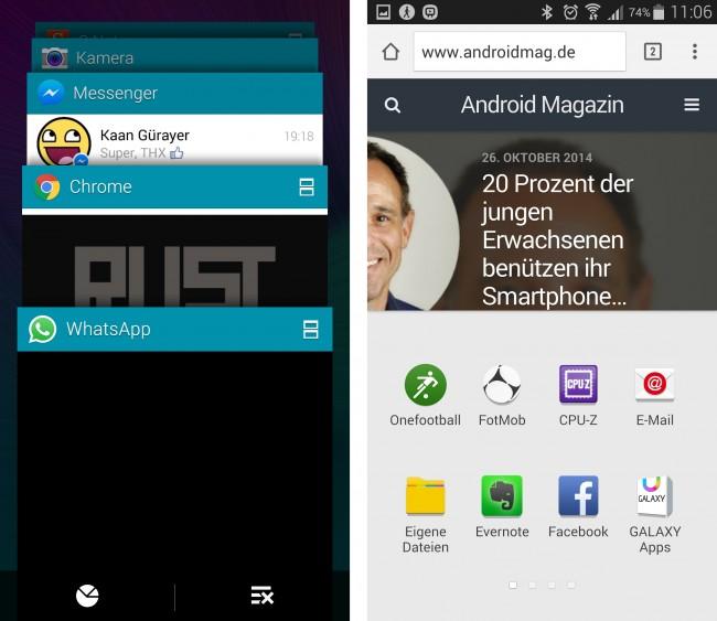 Beim Multitasking ließen sich die Koreaner ein wenig von Android 5.0 Lollipop inspirieren.