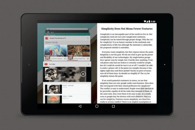 Dieses Mockup vom Oktober 2014 zeigt, wie die Multi-Window-Funktion aussehen könnte. (Bild: Android Police)